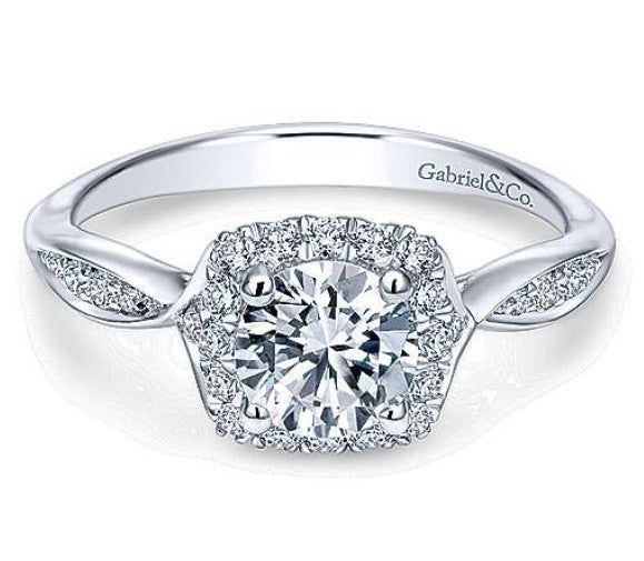 Gabriel Round Halo Diamond Engagement Ring 11713R3