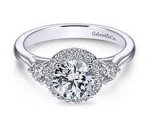 Load image into Gallery viewer, Gabriel Round Three Stone Halo Diamond Engagement Ring 7482W44