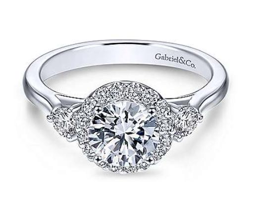 Gabriel Round Three Stone Halo Diamond Engagement Ring 7482W44