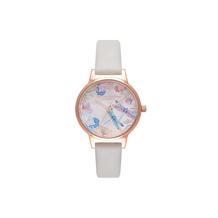 Olivia Burton Painterly Prints Floral - Hand Painted Dragonflies With Pearl Pink Strap