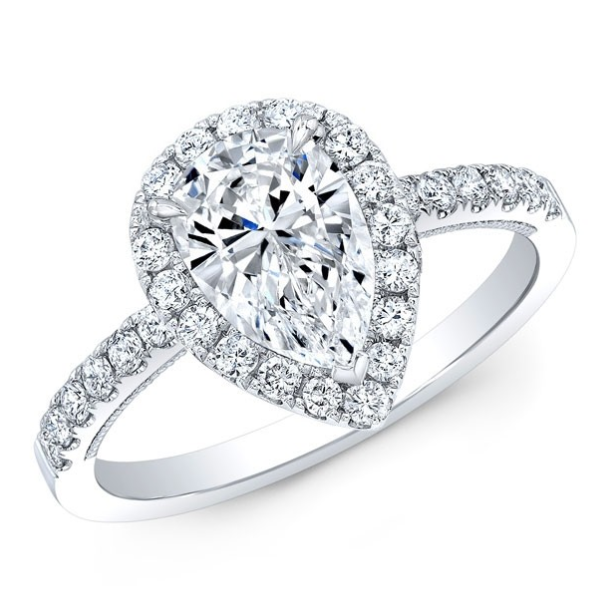 Forevermark Halo & Pear Cut Diamond Engagement Ring