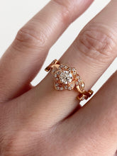 Load image into Gallery viewer, Roset Little Rose Halo Engagement Ring