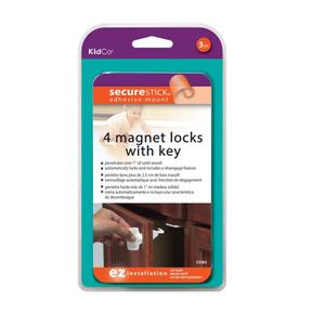 KidCo Adhesive Mount Magnet Lock- 4 Lock Set + Key - lisa rankin