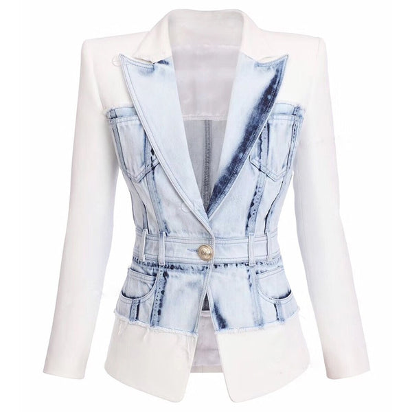 Denim Blazer Women's Single Button Blazer