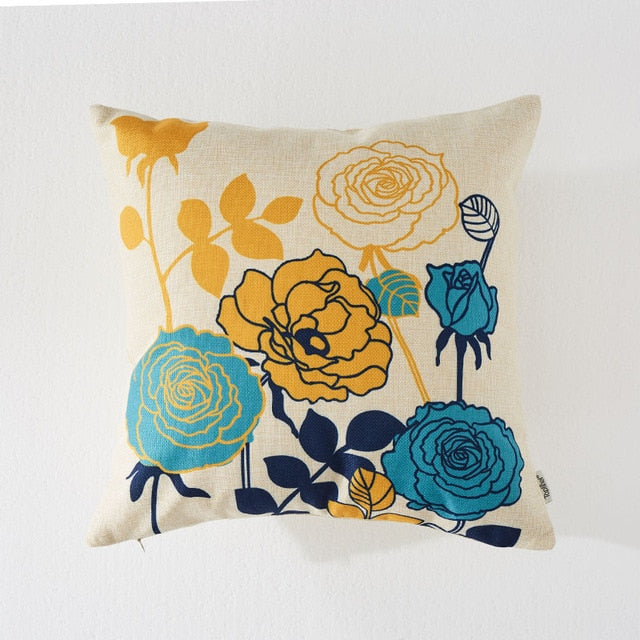 Cotton Linen Flower Printed Throw Pillowcases Covers For Home Decor Sofa Chair Bed