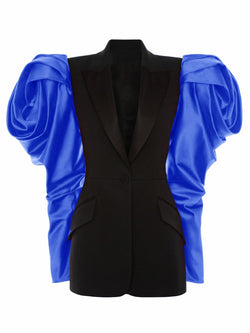 Satin Sleeve Single Breasted Jacket