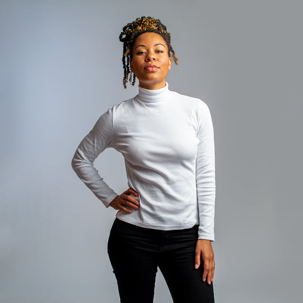 White Ribbed Turtleneck - HONEST BASICS