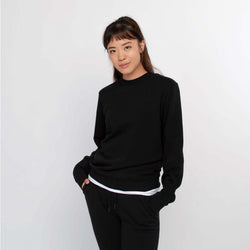 Crew neck sweater women black - HONEST BASICS