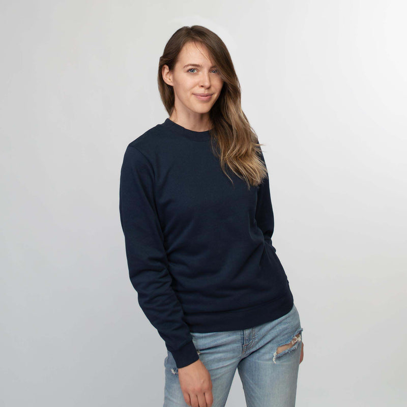Crew neck sweater women dark navy