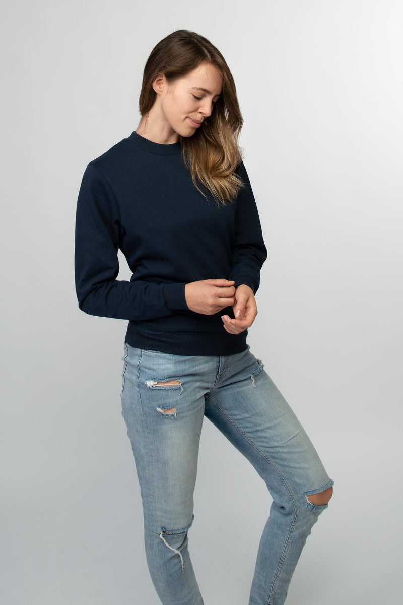 Crew neck sweater women dark navy - HONEST BASICS