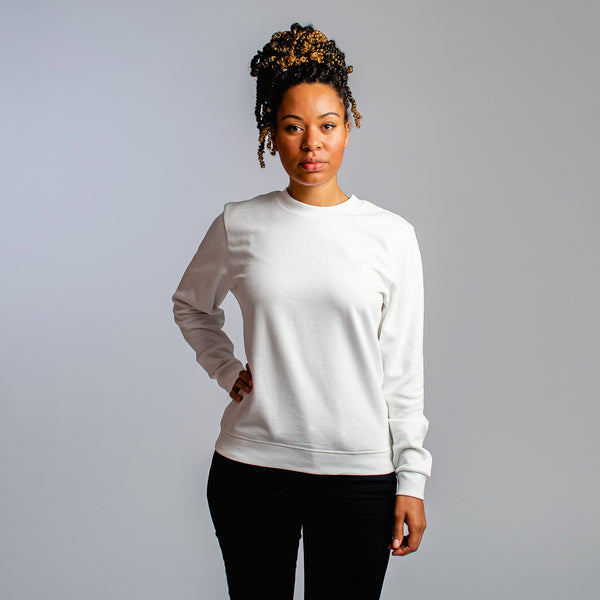 Crew neck sweater women off-white - HONEST BASICS