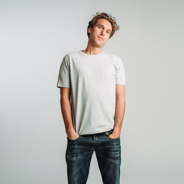 T-shirt men light grey melange - HONEST BASICS