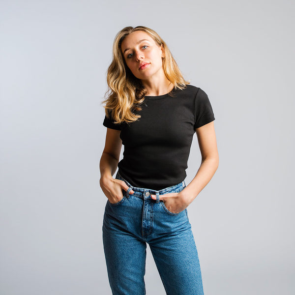 Ribbed t-shirt women black - HONEST BASICS