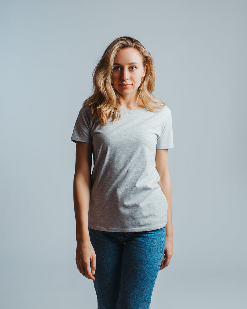 T-shirt women light grey melange - HONEST BASICS