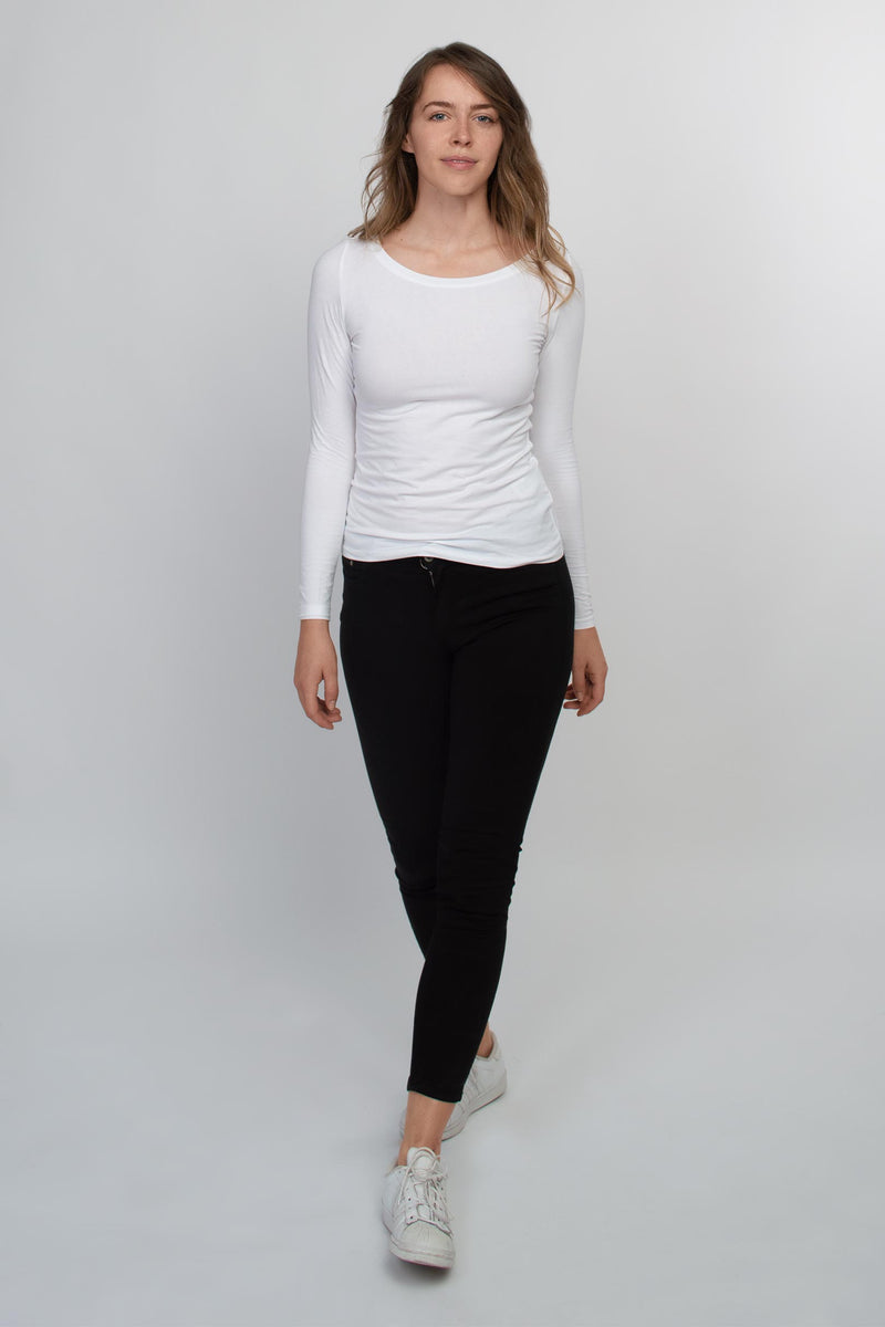 Long sleeve t-shirt women white - HONEST BASICS