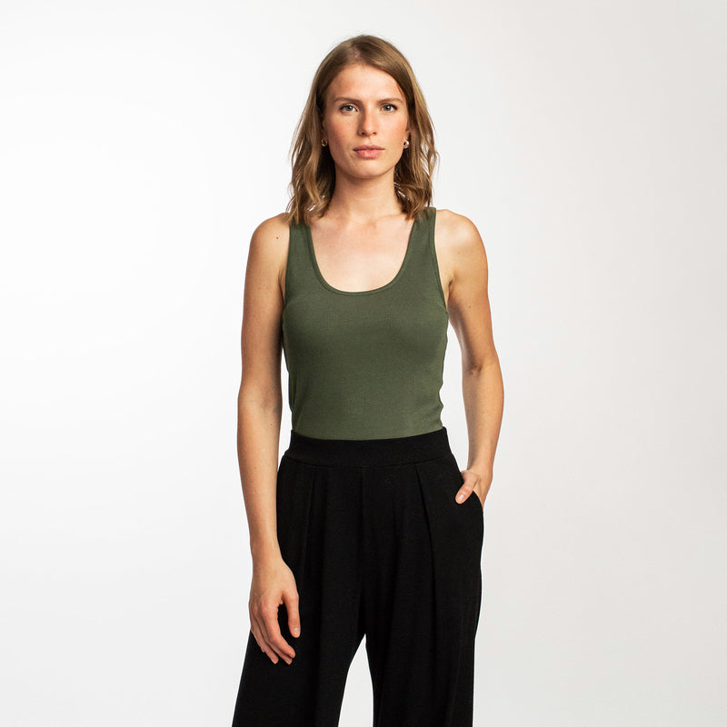 Ribbed tank top dark sage
