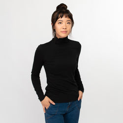 Turtleneck women black - HONEST BASICS