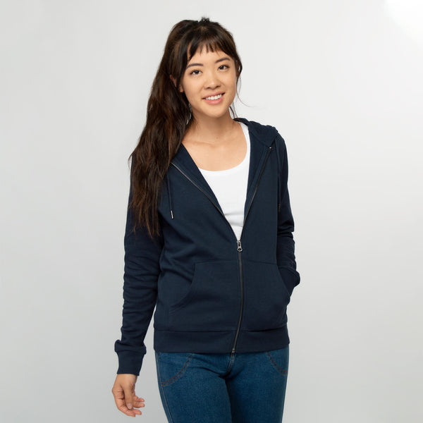 Zip hoodie women dark navy - HONEST BASICS