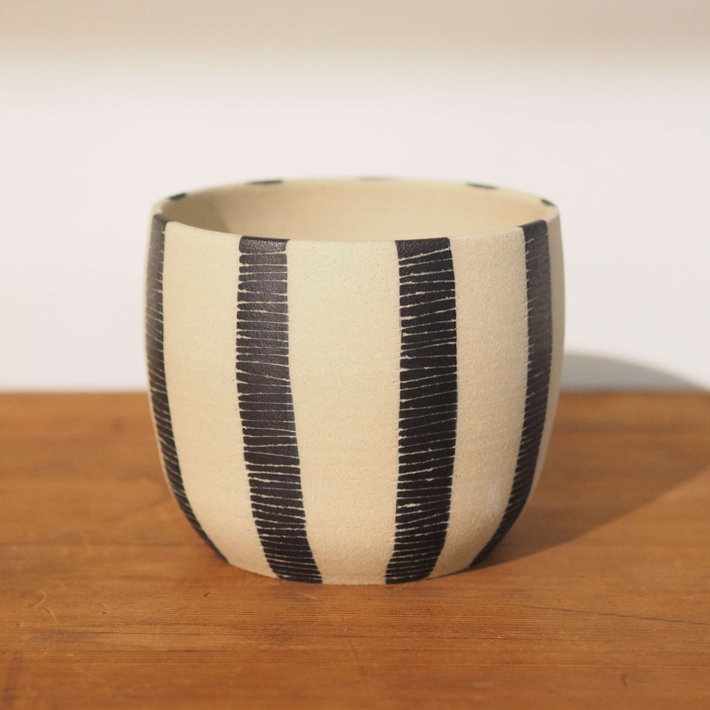 Stripey Blue Steel Planter by TRADE the MARK