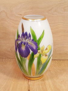 Vintage TOSCANY ART GLASS VASE ~ Hand Painted IRIS FLOWERS ~ White Cased Glass