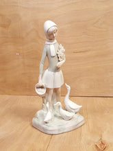 Load Image into Gallery Viewer, Vintage GIRL w/ DUCKS Porcelain Bisque FIGURINE in the style of Lladro