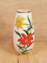 Load Image into Gallery Viewer, Vintage TOSCANY ART GLASS VASE ~ Hand Painted Lily FLOWERS ~ White Cased Glass