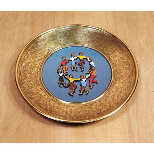 Vtg 1960s ISRAEL Enamel Etched BRASS COLLECTOR PLATE HORA Dance United Nations *