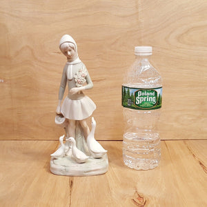 Vintage GIRL w/ DUCKS Porcelain Bisque FIGURINE in the style of Lladro