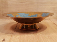Load Image into Gallery Viewer, Vintage Asian CLOISONNE BOWL with BEAUTIFUL BLUE FLOWERS ~ Enamel on Solid Brass