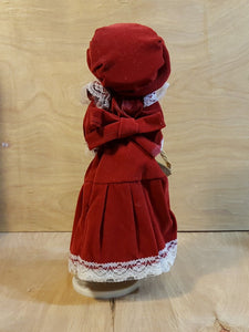 Vtg REVOLVING DOLL Skaters Waltz MUSIC BOX ~ PORCELAIN GIRL ~ Red VELVET Dress
