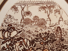 Load Image into Gallery Viewer, GIRL in GARDEN ~ Mid Century Oval AQUATINT Print ~ SIGNED Numbered Lynne HEFFNER