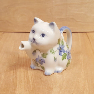 Vintage PORCELAIN Kitty CAT CREAMER ~ White with Blue IRIS FLOWERS