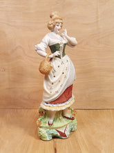 "Load Image into Gallery Viewer, Vtg Hand Painted 12"" MAIDEN FIGURINE ~ PORCELAIN BISQUE Japan Peasant Girl Woman"