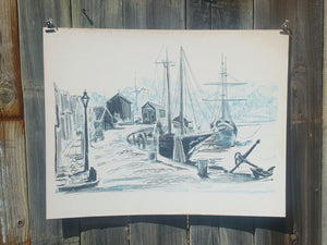 American BOAT HARBOR Wharf ~ Mid Century LITHOGRAPH Print ~ Ida Libby DENGROVE - Super Funky Stuff