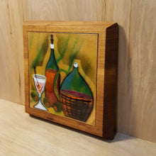 Load Image into Gallery Viewer, Vtg WINE Bottles COPPER ENAMEL on TEAK WALL HANGING Trivet ~ Bovano Cheshire CT