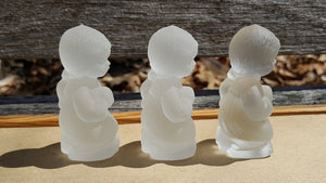 Vintage GOEBEL LOT of 6 ANGEL FIGURINE ~ Frosted CRYSTAL Glass Charlottenhutte