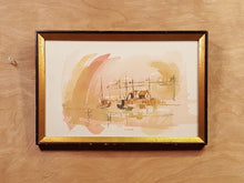 "Load Image into Gallery Viewer, Vtg ""Port"" BOAT HARBOR WATERCOLOR PAINTING SIGNED Architect Richard B Ferrier *"