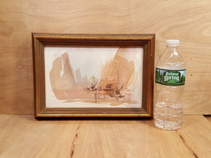 "Vtg ""Coast"" BOAT HARBOR WATERCOLOR PAINTING SIGNED Architect Richard B Ferrier *"