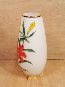 Vintage TOSCANY ART GLASS VASE ~ Hand Painted Lily FLOWERS ~ White Cased Glass