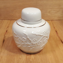 Load Image into Gallery Viewer, Vintage White CHINESE GINGER JAR w/ Raised Relief FLOWERS & Tree ~ 4 Character Mark
