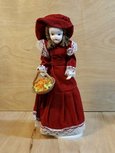 Load Image into Gallery Viewer, Vtg REVOLVING DOLL Skaters Waltz MUSIC BOX ~ PORCELAIN GIRL ~ Red VELVET Dress