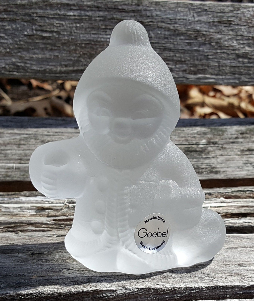 Vtg GOEBEL Santa GNOME CANDLE HOLDER Figurine Frosted CRYSTAL Glass Kristallglas