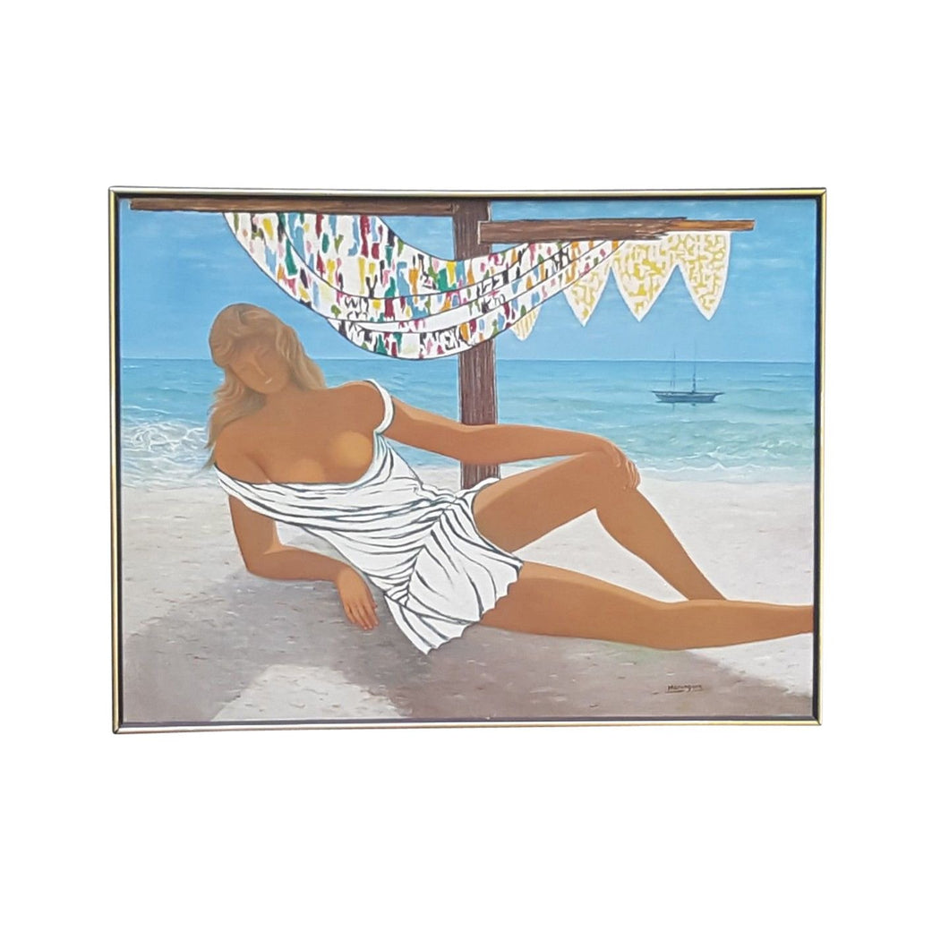 Semi Nude WOMAN on BEACH ~ Johann HANSEGGER SIGNED PAINTING on Canvas ~ 41 x 31