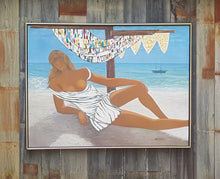 Load Image into Gallery Viewer, Semi Nude WOMAN on BEACH ~ Johann HANSEGGER SIGNED PAINTING on Canvas ~ 41 x 31""