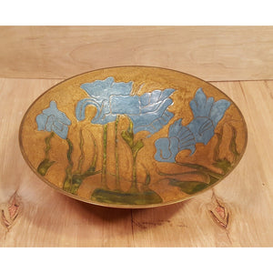 Vintage Asian CLOISONNE BOWL with BEAUTIFUL BLUE FLOWERS ~ Enamel on Solid Brass