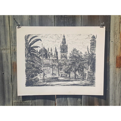 SEVILLE SPAIN Giralda Tower ~ Mid Century LITHOGRAPH Print ~ Ida Libby DENGROVE