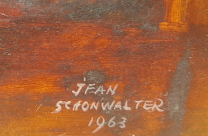Jean Frances SCHONWALTER OIL PAINTING On Board ~ Mid Century Expressionist 22x19