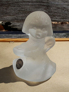 Vtg ANGEL CANDLE HOLDER Figurine ~ GOEBEL Kristallglas ~ Frosted CRYSTAL Glass