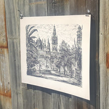 Load Image into Gallery Viewer, SEVILLE SPAIN Giralda Tower ~ Mid Century LITHOGRAPH Print ~ Ida Libby DENGROVE