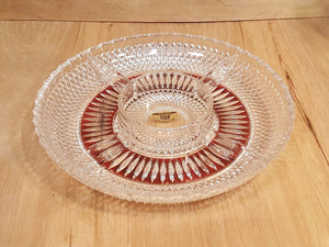 Vintage RUBY & Clear 24% Pbo Lead CRYSTAL DIVIDED DISH GERMANY Appetizer Relish